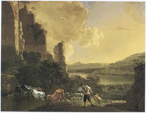 Zuidelijk landschap met doorwaadbare plaats bij een ruïne