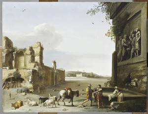 Ruïnes in Rome met een bas-relief van Marcus Aurelius