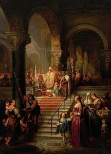 De zegening van koning Richard Leeuwenhart in een kathedraal voor zijn vertrek op kruistocht