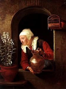 Oude vrouw met een kruik in een venster