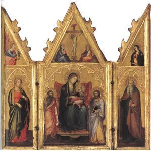 Vrouwelijke heilige en Gabriël van de annunciatie (binnenzijde linkerluik), Tronende Madonna tussen Johannes de Doper en Jacobus de Meerder en Kruisiging (middenpaneel), H. Antonius Abt en Maria van de annunciatie (binnenzijde rechterluik)