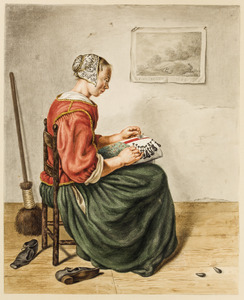 Kantklossende vrouw in interieur