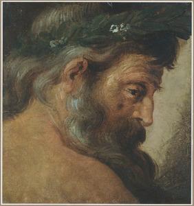 Kop van een allegorische figuur met baard en lauwerkrans (de riviergod Tiber)