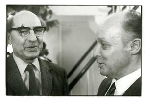 Portret van Gerd Arntz en Arthur Lehning