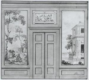 Ontwerp van een behangsel met twee landschappen ter weerszijden van een porte-brisée (met alternatief ontwerp)