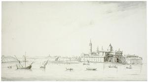 Schepen op de lagune bij de S. Giorgio, Venetië