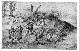 Soldaten en overval op een marskramer in een landschap