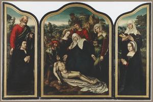 De H. Petrus met stichter (links), de bewening (midden), de H. Anna met stichtster (rechts)