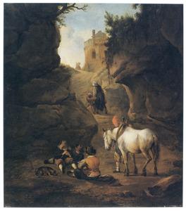 Kaartspelende boeren en een schimmel in een bergkloof; op de achtergrond een huis