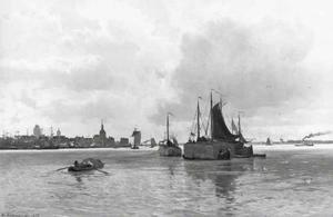 Dordrecht met schepen op de Maas