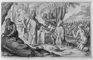 Een koning offert een dier voor het beeld van Thor