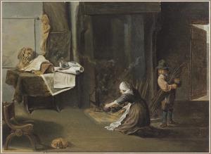 Interieur van een kunstliefhebber met een vrouw die de haard aansteekt, naast haar een jongetje met een takkenbos