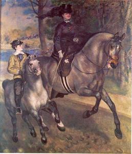 Mevrouw Darras rijdend in het Bois de Boulogne
