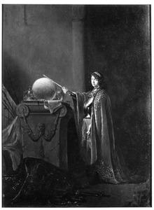 Allegorische figuur met een lauwerkrans en een scepter bij een altaar