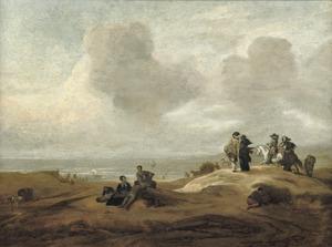 Strandgezicht met elegante figuren op een duin uitkijkend over zee