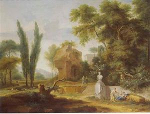 Arcadisch landschap met ruïne en een met guirlanden versierde stenen buste