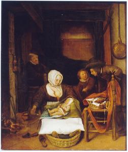 Kraamkamer met vrouw in bakermat