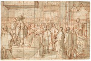 Koning Henri IV's afzwering van het protestantisme in de basiliek van Saint-Denis op 25 juli 1593