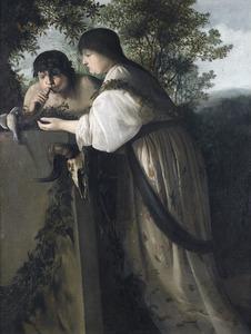 Een jonge man en vrouw bij een heidens altaar