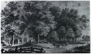 Huisje tussen bomen