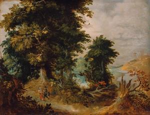 Boslandschap met mannen en een gevangene