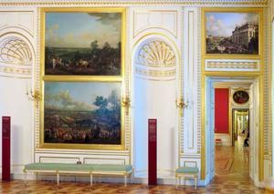 Overzicht van de Canaletto kamer in het Koninklijk Paleis Warschau