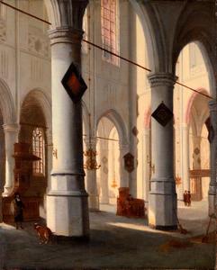 Kerkinterieur met motieven van de Oude Kerk in Delft