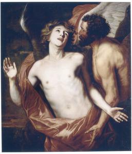 Daedalus bevestigt de vleugels op zijn zoon Icarus