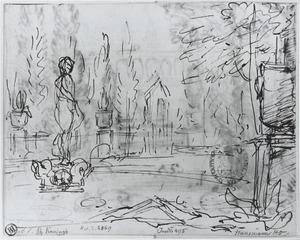 Blik op de Minerva-fontein, onderdeel van het amfitheater in Kleef
