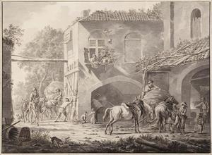 Binnenplaats met paarden bij de hoefsmid