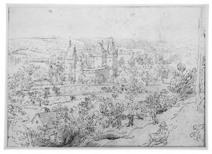 Gezicht op het kasteel van Beersel bij Brussel