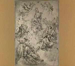 De kroning van Maria door het Christuskind, met heiligen
