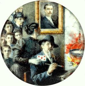 Portret van Piet Slager (1841-1912) met gezin en vrienden
