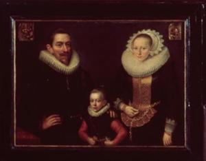 Portret van Pieter Gerritsz. Schaep (1570-1620), Margriete Pauli Hallincg (1570-1605) en Gerard Pietersz. Schaep (1599-1655)