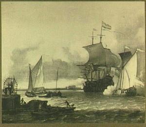 Hollandse schepen voor de kust, links een watermolen