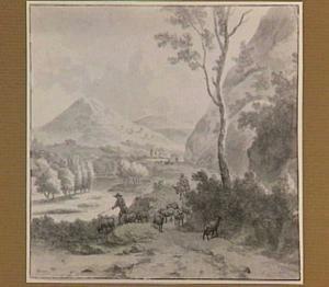 Italianiserend berglandschap met herder en schapen