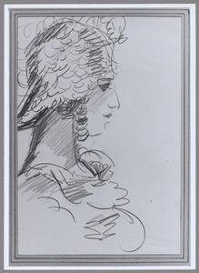 Portret van een Revue-meisje en profil in Theater Scala
