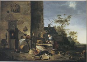 Boerenerf met een vis schoonmakende vrouw