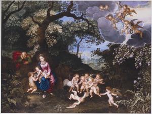 De rust op de vlucht naar Egypte met Johannes de Doper als kind en vele spelende engeltjes