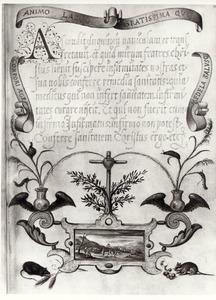 Tekst betreffende het Heilig Hart ; op de illustratie  Mozes en de bronzen slang (Numeri 21: 4-9