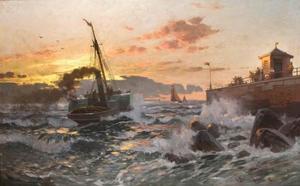 Raderstoomboot voor de Nederlandse kust bij zonsondergang