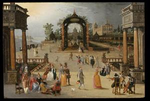 Binnenplaats van een Venetiaans paleis met elegante figuren