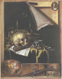 Trompe l'oeil van een atelierwand met vanitasstilleven, portretminiatuur en schildersattributen