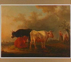 Landschap met drie koeien en twee herders