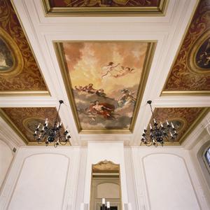 Zesdelige plafondschildering met godenverzameling en vier episodes uit het leven van Odysseus