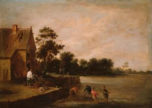 Rivierlandschap met vissers in ondiep water