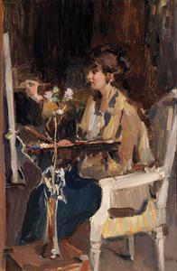Schilderes in het atelier