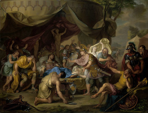 Het sterfbed van Epaminondas, bevelhebber van het Thebaanse leger in de strijd tegen Sparta (371-62 B.C.)