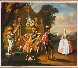 Musicerend en dansend gezelschap in een park