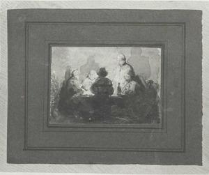 Vijf figuren aan tafel